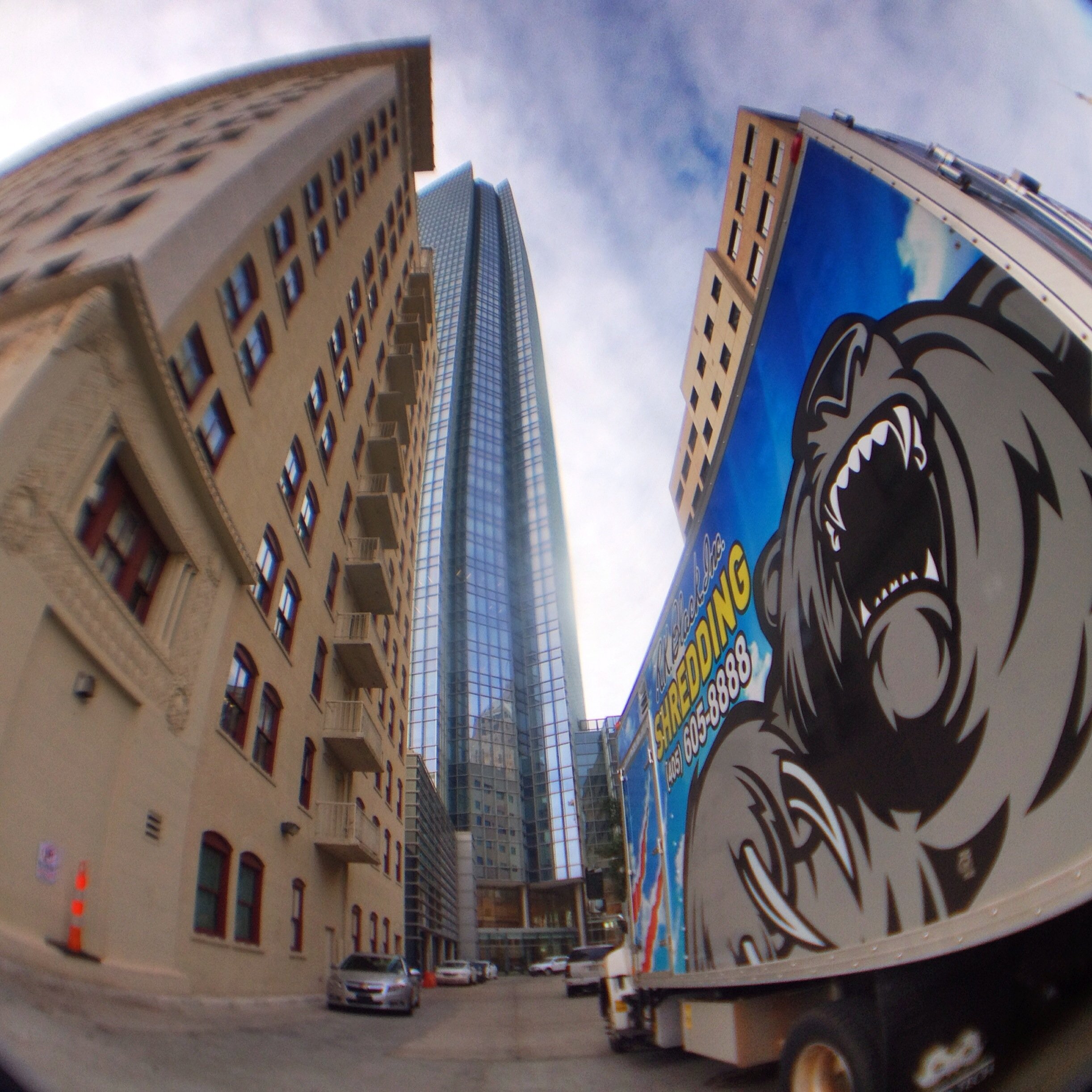 Image of mobile shredding truck in downtown Oklahoma City.