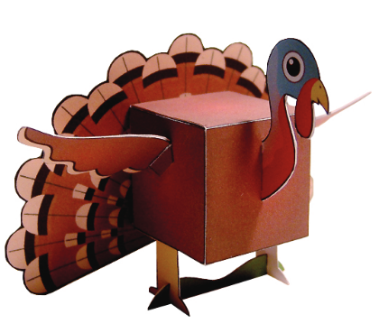 Image of paper printable turkey for Thanksgiving decoration