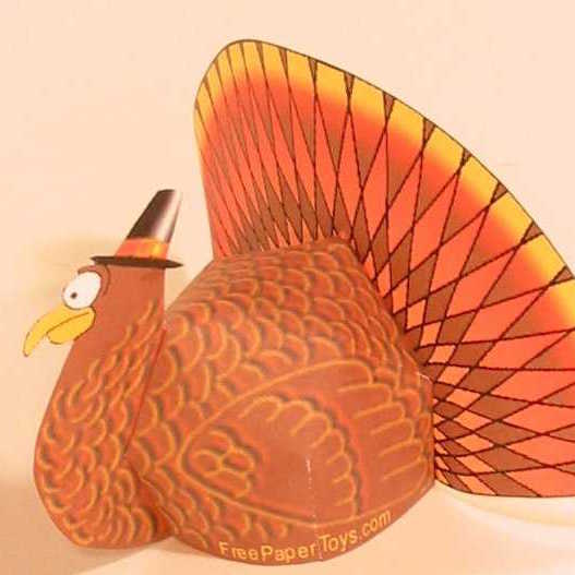 Image of printable paper turkey design for Thanksgiving decoration