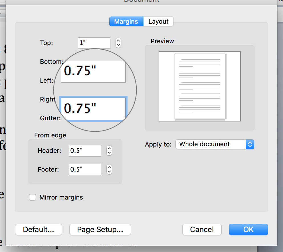 Screen shot of how to adjust margins in Word > Format > Document