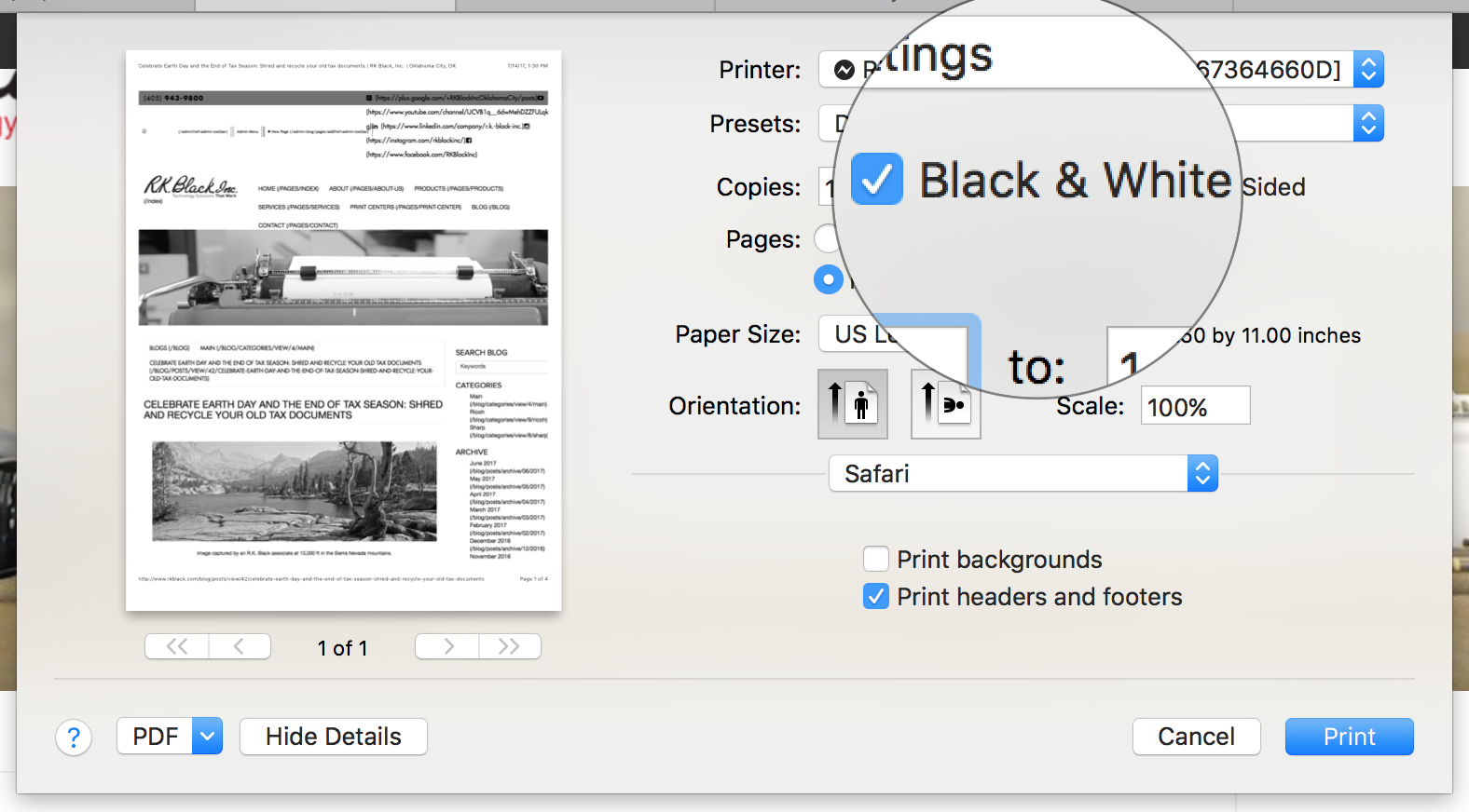 Screen shot of how to set up document to print black and white from Mac print dialogue box