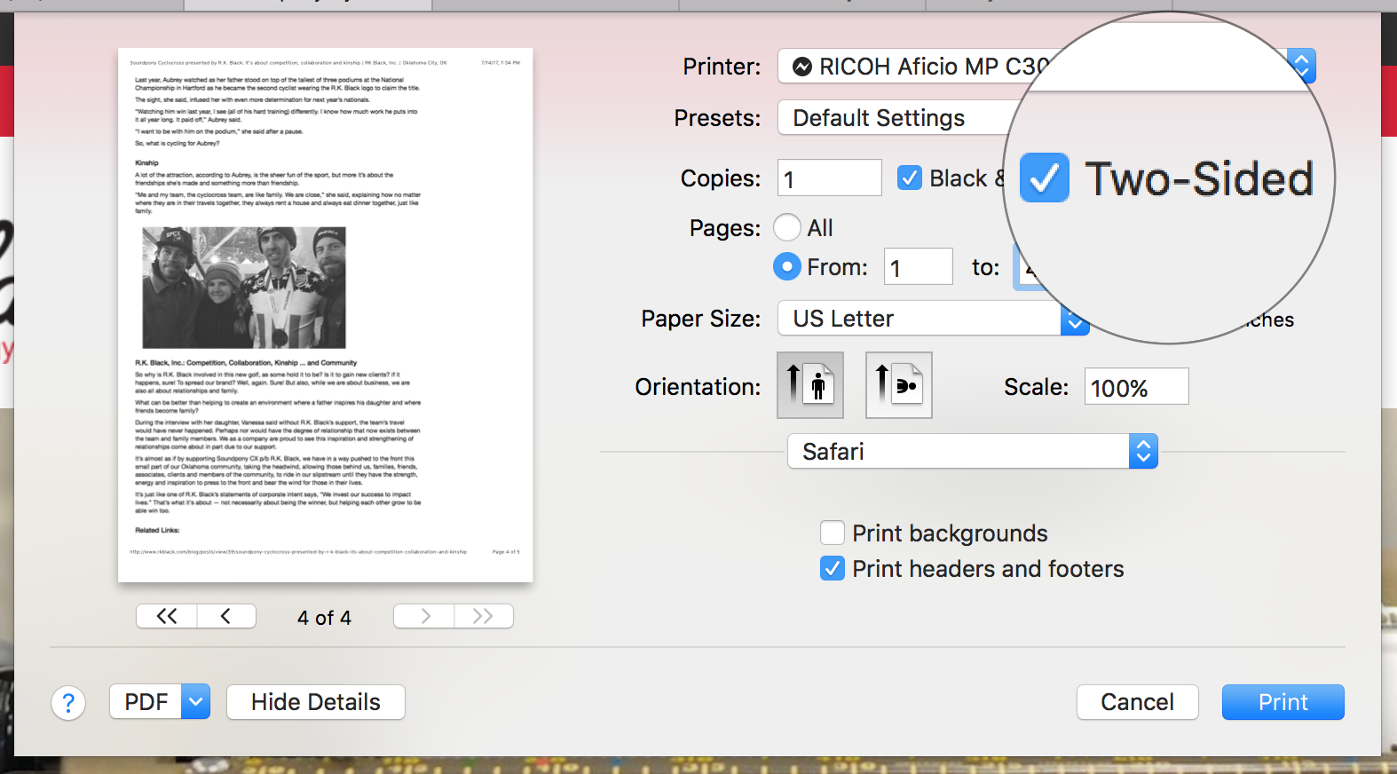 Screen shot of how to set up document to print duplex from a Mac
