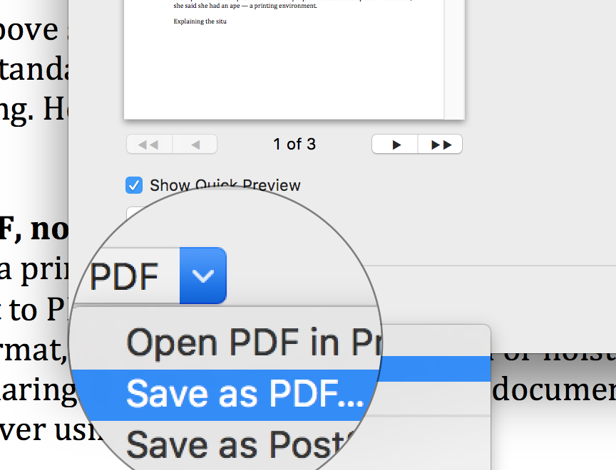 Screen shot of how to select to print or save to PDF on Mac print dialog screen