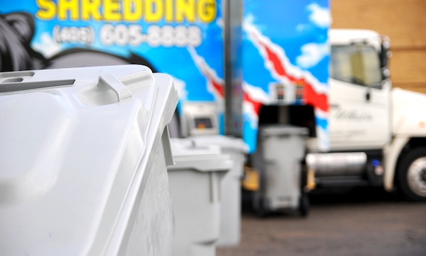 Image of R.K. Black Shredding truck with bins for onsite, curbside shredding service