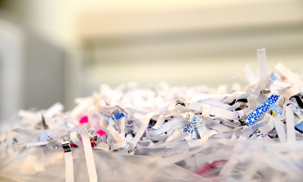 Image of paper shredded by business-grade paper shredder