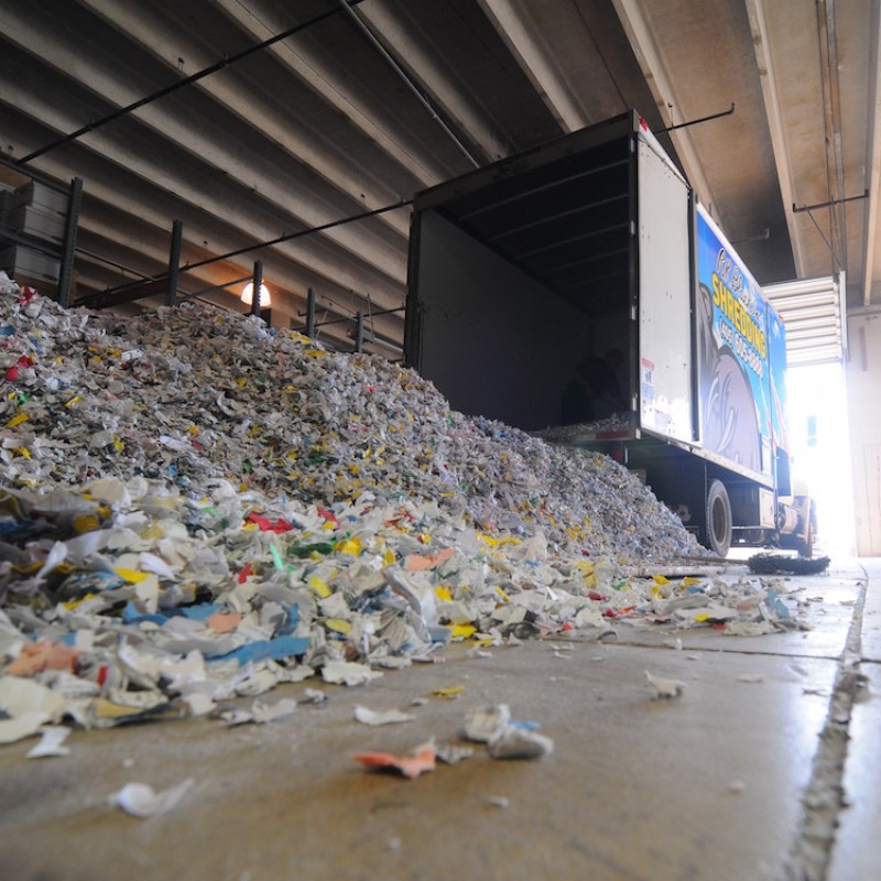 Image of paper shredding track at recycle plant in Oklahoma City, OK
