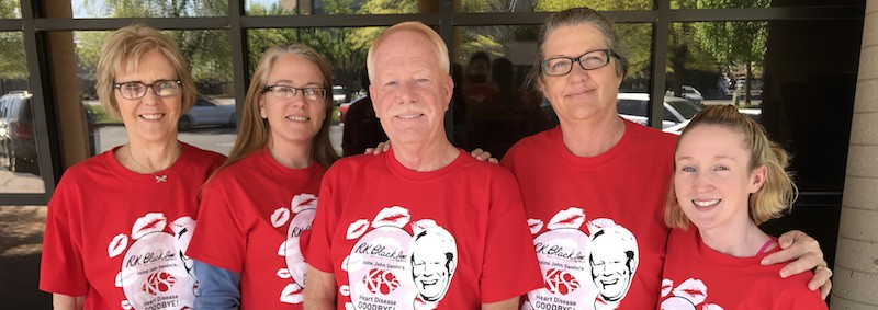 John Sanders, center, stands with fellow R.K. Black Heart Walk walkers a day before the 2017 Central Oklahoma Heart Walk.