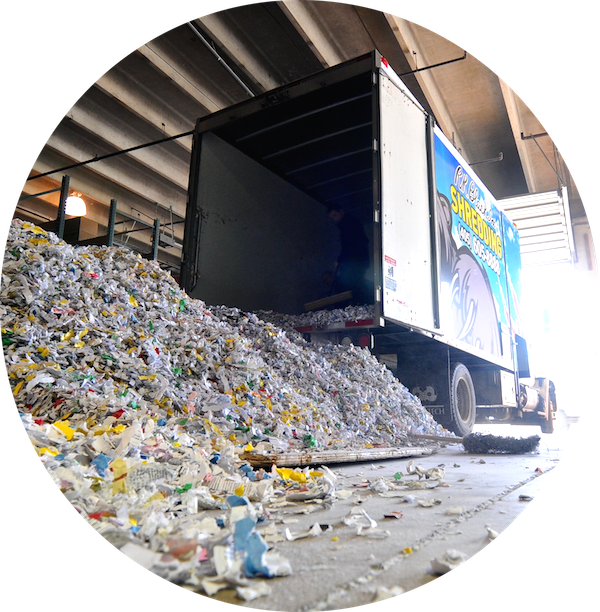 Image of R.K. Black mobile shredding truck at recycle center in Oklahoma City, OK