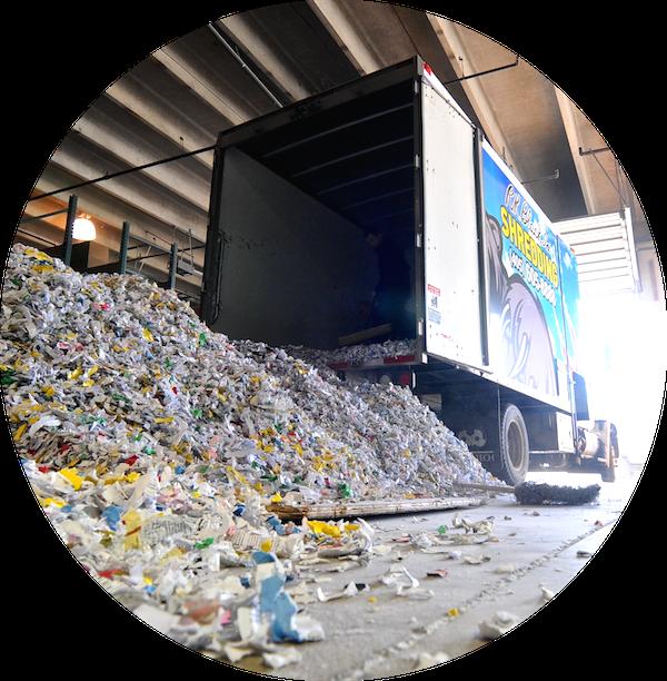 Image of R.K. Black mobile shredding truck at recycle center in Oklahoma City, OK