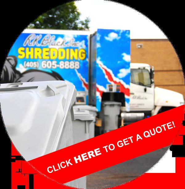 Image of RK Black shredding truck with bin in foreground in Oklahoma City, OK