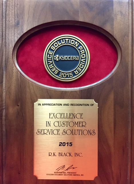 Image of R.K. Black Kyocera Excellence in Customer Service Solutions 2015 Award