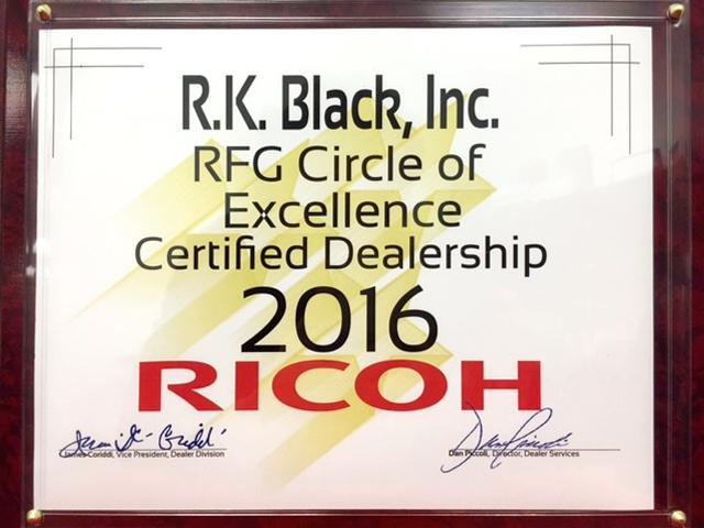 Image of R.K. Black Ricoh RFG Excellence Certified Dealership 2016 Award
