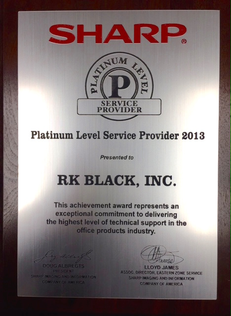 Image of R.K. Black Platinum Level Service Provider 2013 Award