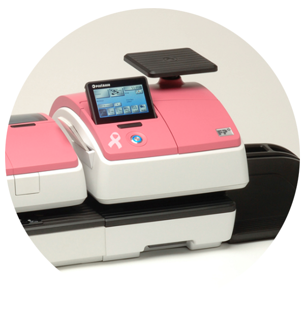 Pink FP Mailing Solutions PostBase postage meters at R.K. Black, Inc.